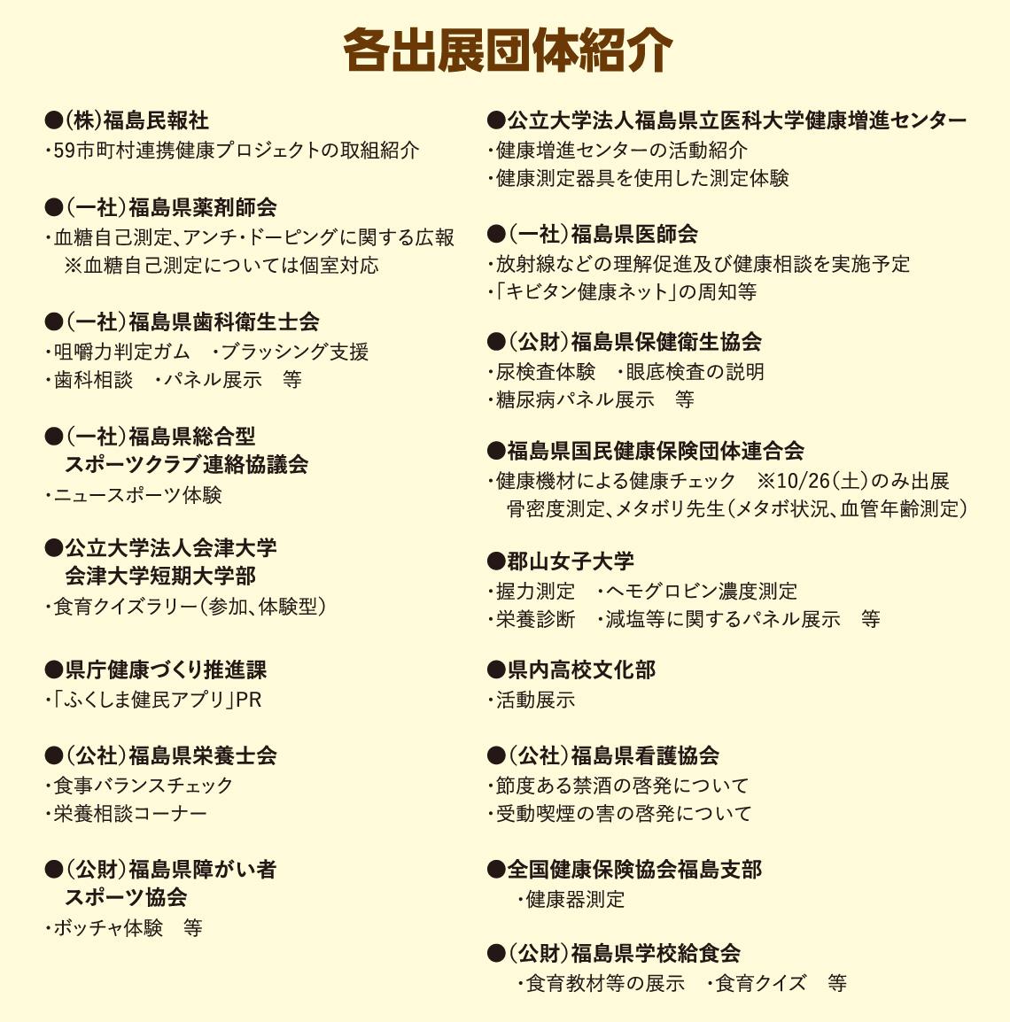 各出展団体紹介